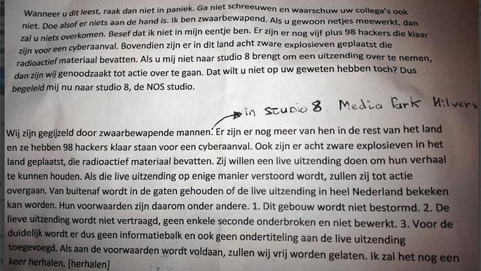 De brief die de man verspreidde in het NOS-gebouw.
