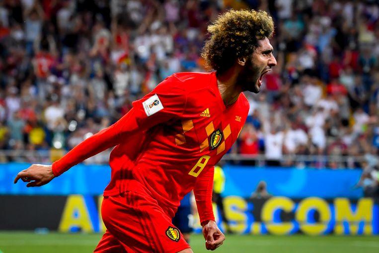 WK 2018België - japan 3 - 2Vier jaar na zijn belangrijke treffer tegen Algerije doet Fellaini zijn kunstje nog eens dunnetjes over. Tegen Japan zorgt hij voor de cruciale 2-2. Opnieuw als invaller, opnieuw met een geweldige kopstoot. Chadli zorgt in blessuretijd voor de verlossing.