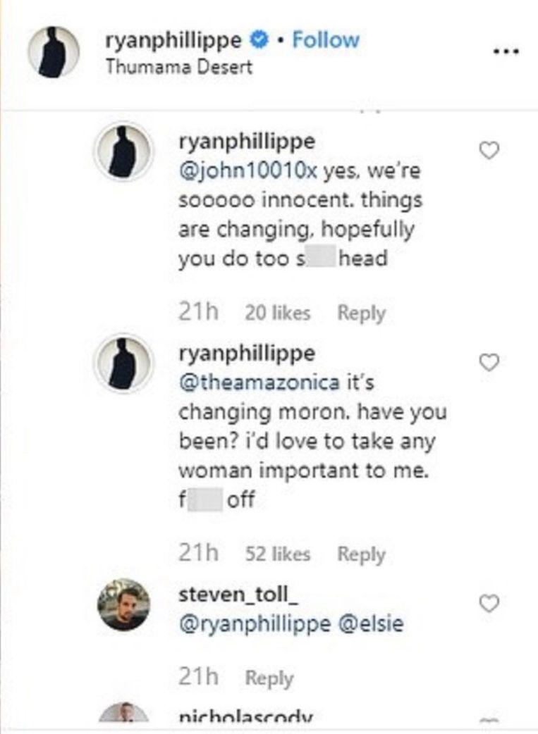 Ryan Phillippe gaat in de verdediging op instagram