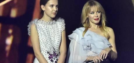 Hilariteit om lengteverschil tieneractrice (14) en Kylie Minogue (49)