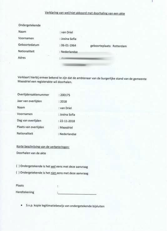 Aanhangsel bij brief van gemeente Maasdriel: verklaring die moet worden ondertekend waarmee toestemming wordt gevraagd aan officier van justitie om akte door te halen.