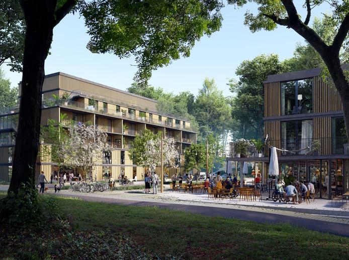 Beeld van het dorpsplein van de toekomstige Arnhemse wijk 'Het Dorp' na de metamorfose.
