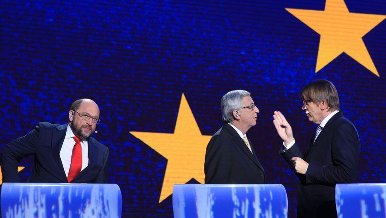 Spitzenkandidaten Schulz, Juncker en Verhofstadt.