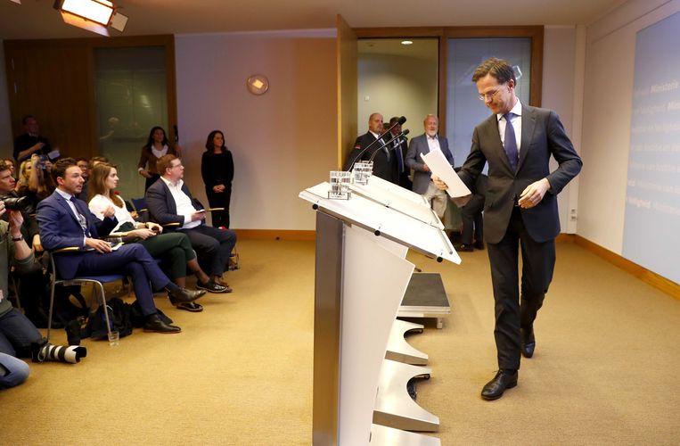Premier Rutte voorafgaand aan de persconferentie. Beeld ANP