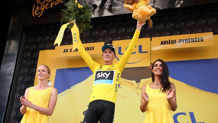 Christopher Froome start morgen in de gele trui. Beeld getty