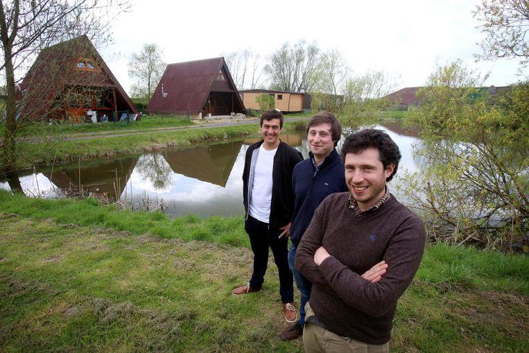 Sam Vandewiele, Alexander en Philippe Goemaere op camping De IJzerhoeve.