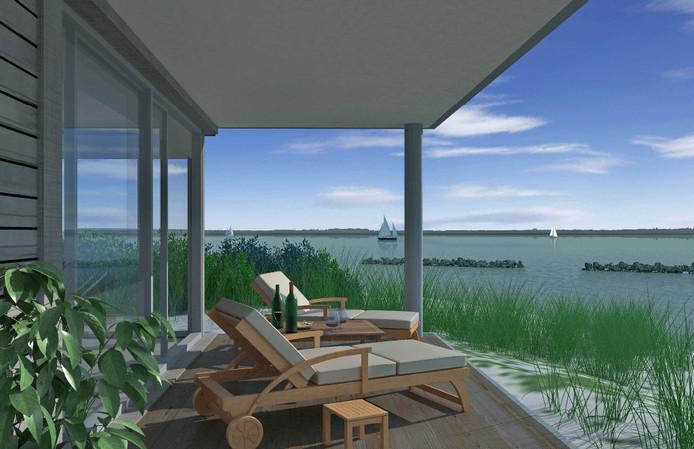 Artist impression van wonen op één van de dertien kunstmatige eilandjes in de Grevelingen, zoals projectontwikkelaar Matthijs Zeelenberg dat voor ogen had