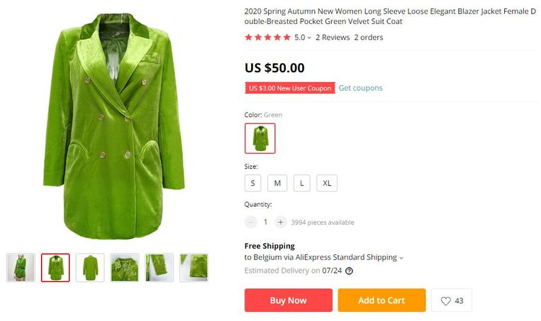 In een muisklik koop je dit velvet jasje.