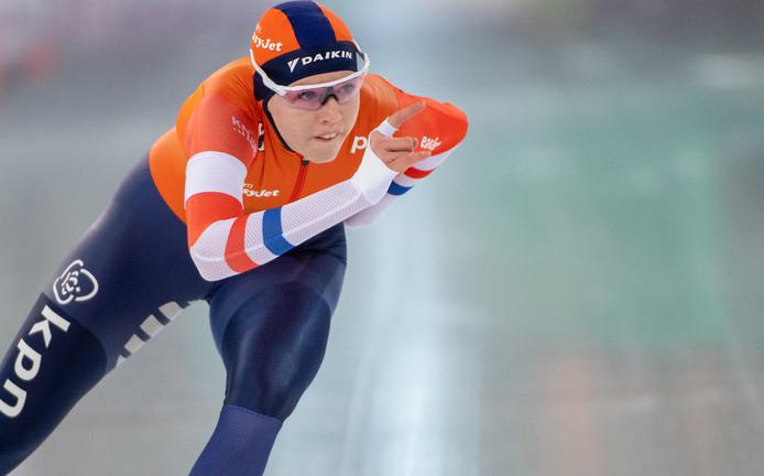 Elisa Dul in actie op de 1000 meter.