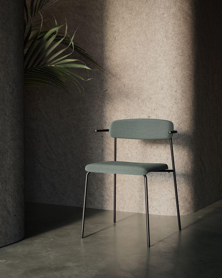 Het nieuwste ontwerp: een stoel met een zitting waarin onder andere gerecyclede wol is verwerkt.  Beeld VAES visuals