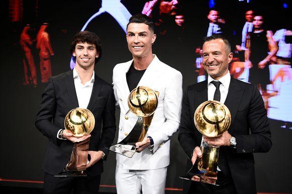 Jorge Mendes (rechts), de makelaar van Cristiano Ronaldo.