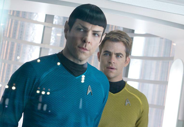 Zachary Quinto en Chris Pine in Star Trek: Into Darkness Beeld geen