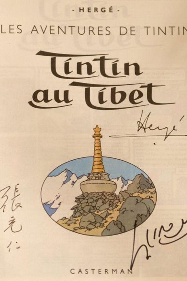 Bod van 7500 euro voor een genummerd album uit 1960 van Tintin au Tibet. Beeld null