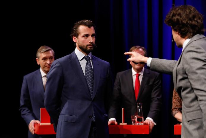 De lijsttrekkers Sybrand Buma (CDA), Thierry Baudet (Forum voor Democratie), Alexander Pechtold (D66) en Jesse Klaver (GroenLinks) debatteren in De Balie in Amsterdam