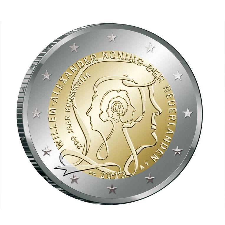 Voorzijde munt 200 jaar Koninkrijk, 2013, ontwerp Roosje Klap en Claudia Linders. Beeld