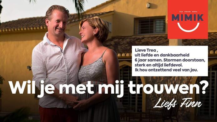Trea, wil je met mij trouwen, vroeg Deventenaar Finn Magendans aan zijn geliefde via het witte doek van Film op de Brink in Deventer