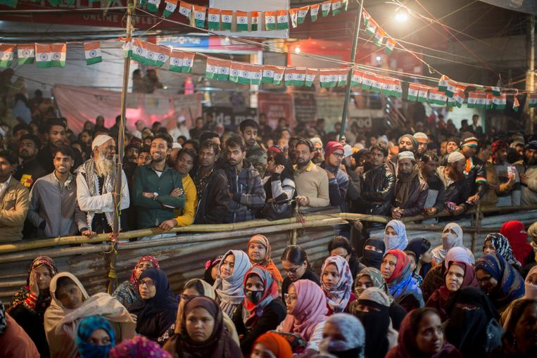 Demonstranten tijdens het protest in Shaheen Bagh.  Beeld Getty Images