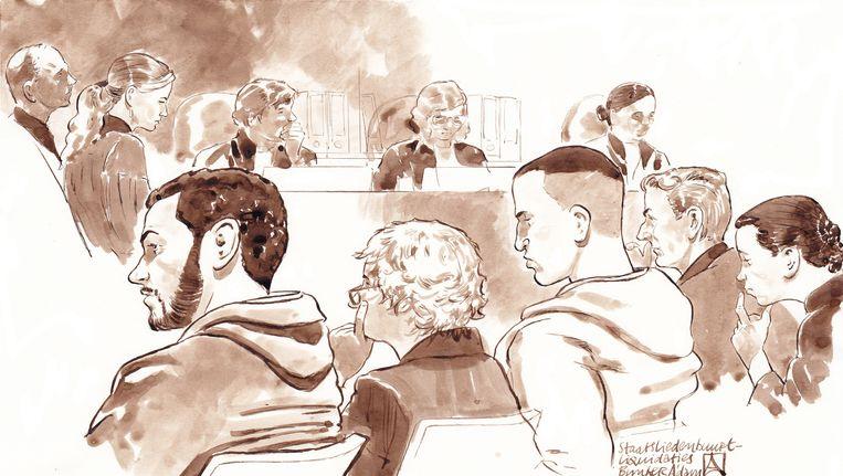 De verdachten in de Staatsliedenbuurtzaak: Anouar B. (geheel links) en Adil A. (midden rechts), met hun advocaten. Beeld anp