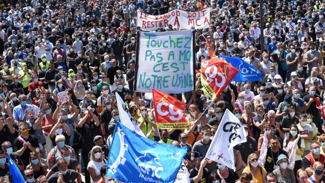 Grote demonstratie in Franse stad Maubeuge tegen ontslagen bij Renault