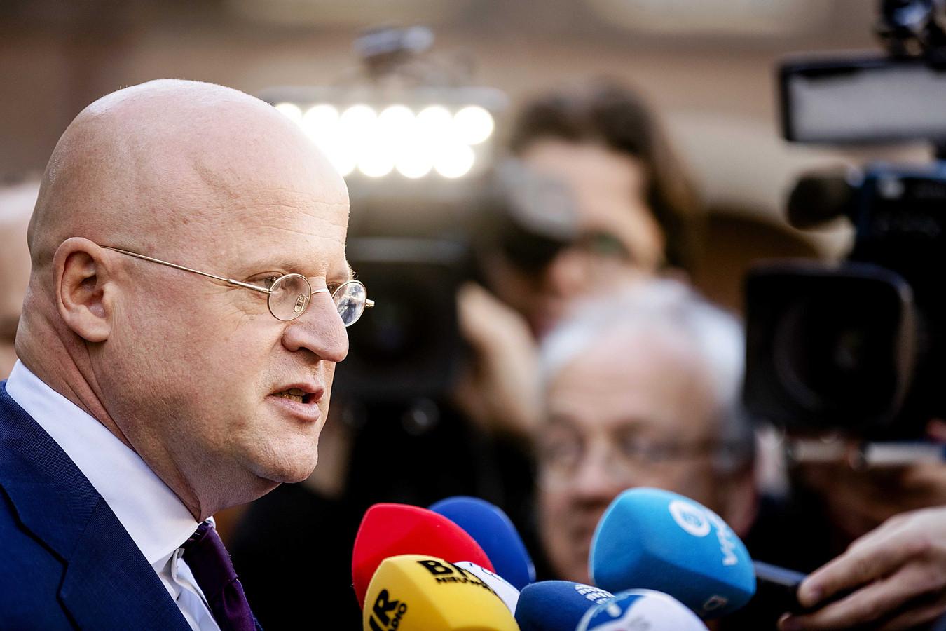 Ferdinand Grapperhaus (CDA) na het gesprek met formateur Mark Rutte vanmorgen