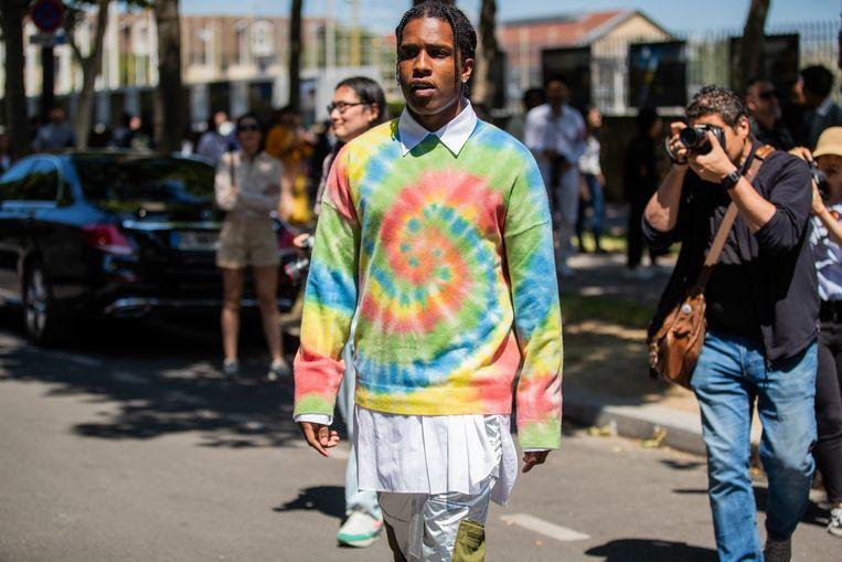 Karim Mayers, alias  A$AP Rocky, vorige maand tijdens de fashionweek in Parijs.  Beeld Getty Images