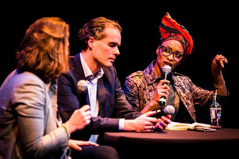 Mascha ten Bruggencate (D66), Laurens Ivens (SP) en Sylvana Simons (Bij1) tijdens het verkiezingsdebat Beeld anp