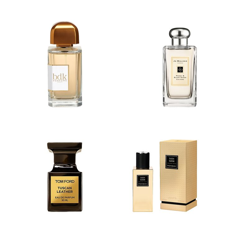 Vanaf linksboven en met de klok mee: BDK Parfums, Jo Malone Peony & Blush Suede, Yves Saint Laurent, Tom Ford  Beeld
