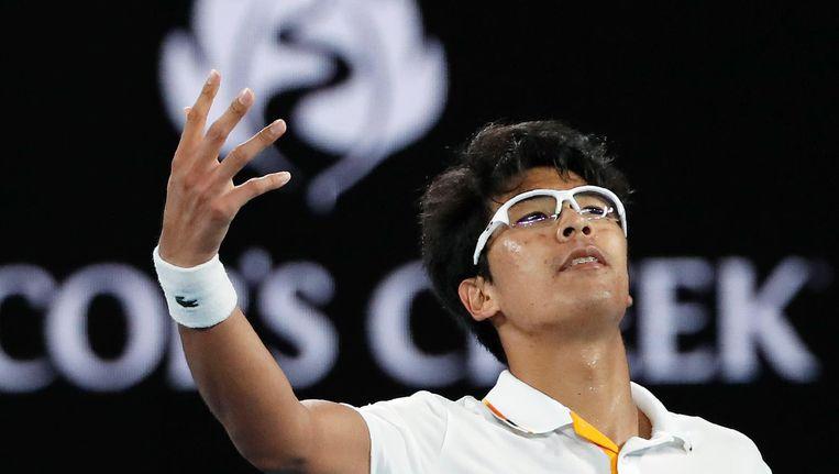 De Zuid-Koreaan Hyeon Chung versloeg Novak Djokovic op de Australian Open. Hij staat nu in de kwartfinale tegenover Tennys Sandgren. Beeld reuters