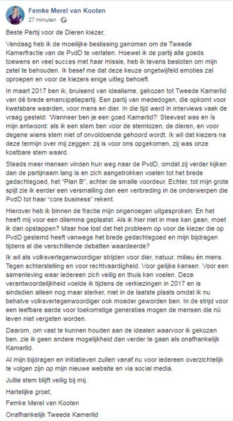 Femke Merel van Kooten legt op Facebook uit waarom ze PvdD verlaat.  Beeld null