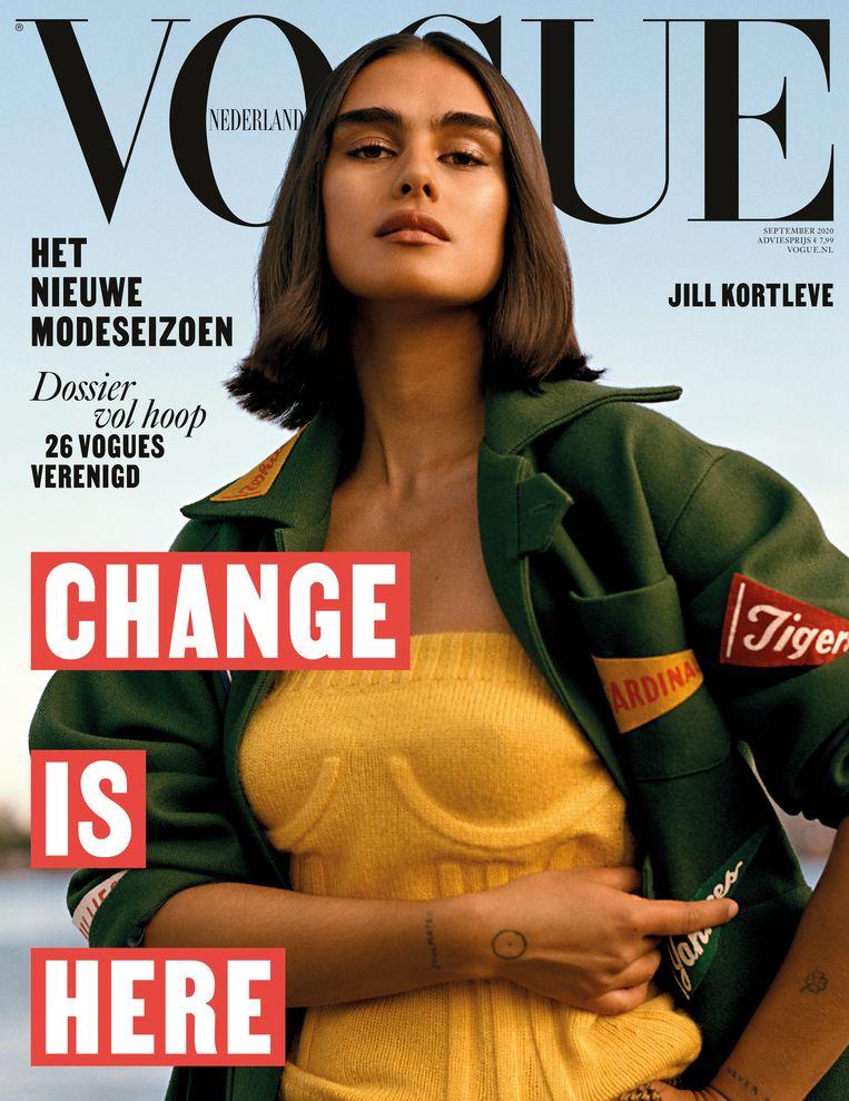 Model Jill Kortleve op de cover van de Vogue.  Beeld Vogue