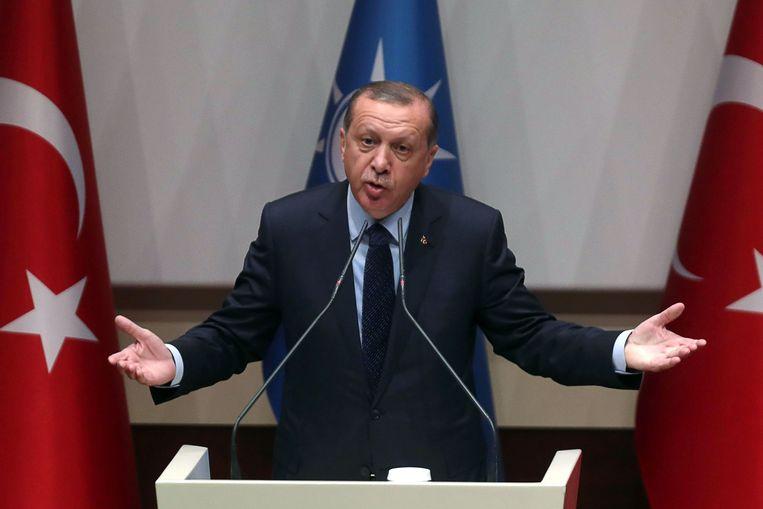 President Erdogan in mei tijdens een toespraak in Ankara. Beeld AFP