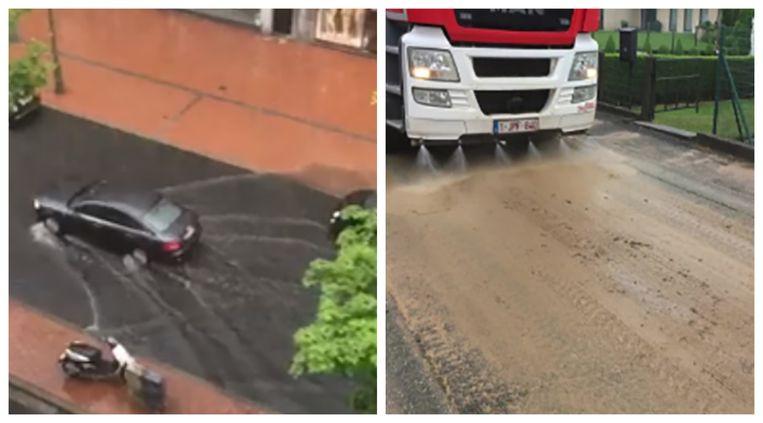 De Lippenslaan in Knokke-Heist stond korte tijd blank. Een bewoonster deelde een filmpje op Facebook. Foto rechts:  de brandweer spuit straten schoon in Maarkedal (Vlaamse Ardennen).
