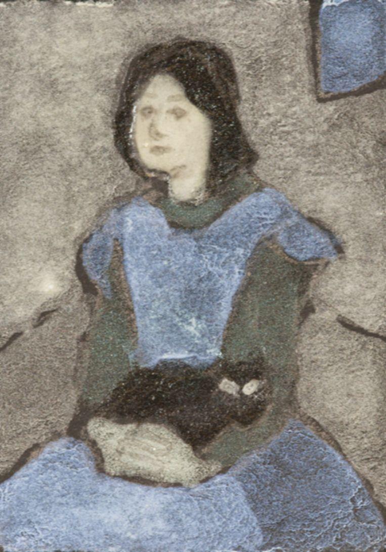 Om te laten zien dat het pauwenpigment werkt, maakten de onderzoekers onder andere dit mini-schilderijtje, geïnspireerd op Gwen Johns 'Meisje met een kat op schoot'. Beeld null