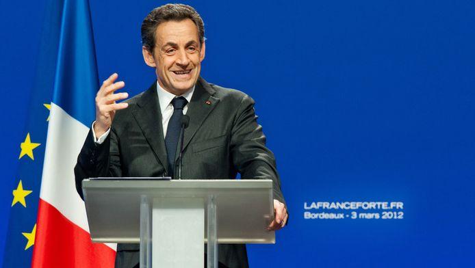 De Franse president Nicolas Sarkozy vandaag in Bordeaux.