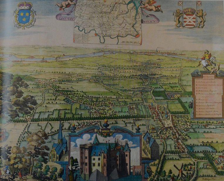 Een kaart van het Land van Beveren met centraal het inmiddels verdwenen kasteel Singelberg.