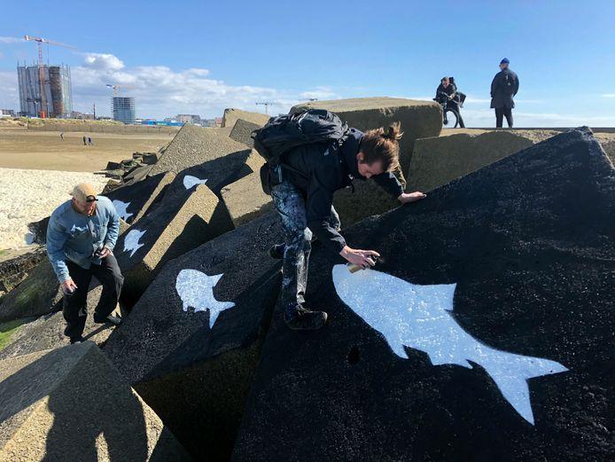 Witte haringen op de basaltblokken van het Noordelijk Havenhoofd in Scheveningen als eerbetoon aan de omgekomen surfers Joost, Sander, Pim, Mathijs en Max.