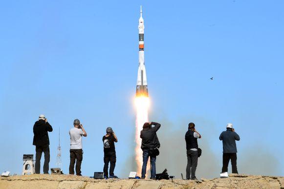 De lancering van de Sojoez-capsule. Daar liep het mis met de tweede rakettrap.