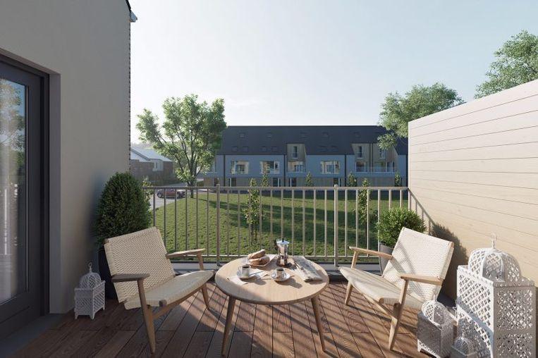 Het terras van een woning in project De Parel in Niel.