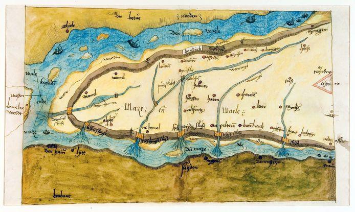De oudst bekende kaart van Maas en Waal uit 1544.