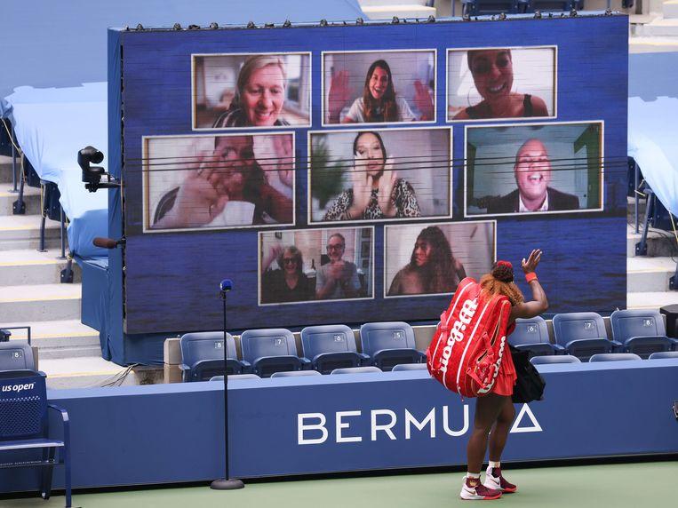 Serena Williams na het winnen van de kwartfinale van de US Open. Beeld AFP