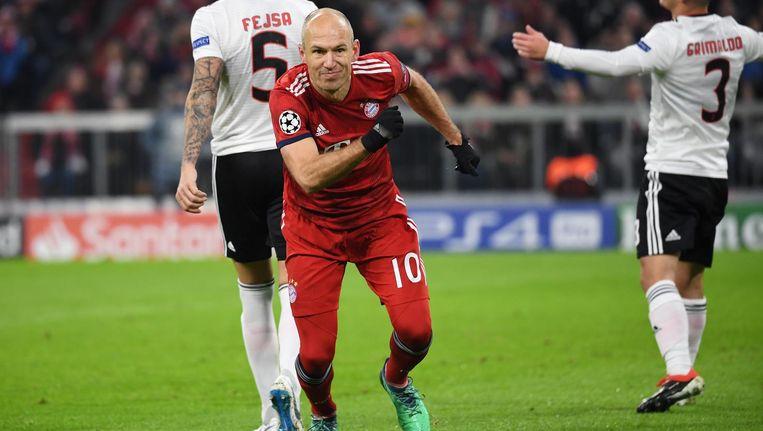Robben na de openingstreffer tege Benfica Beeld ANP