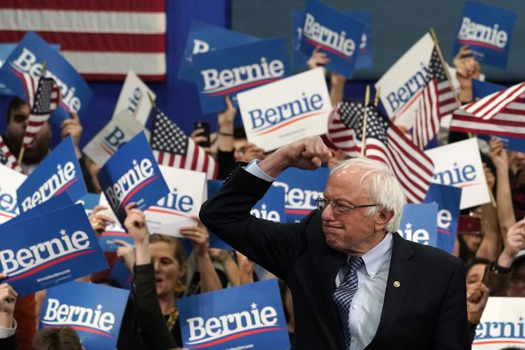 Bernie Sanders na zijn winst in New Hampshire. Beeld AFP