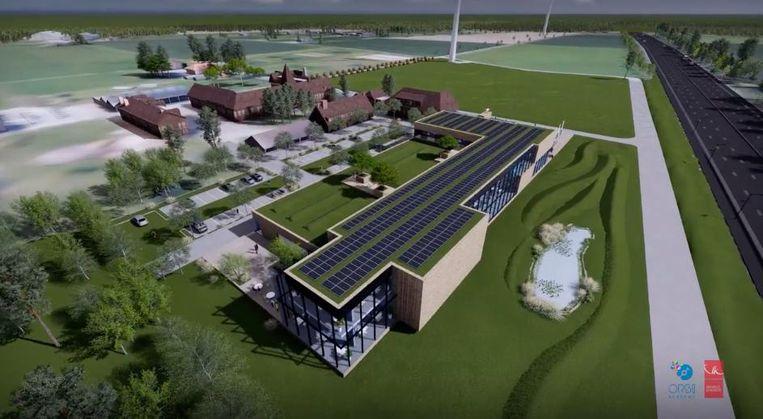 Een toekomstbeeld van het nieuwe complex langs de E40.