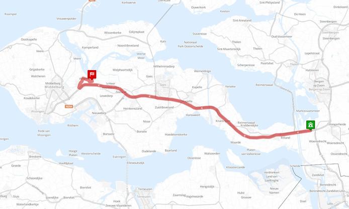 Afslag Arnemuiden is ook  volgens RouteXL de snelste weg naar Waterpark Veerse Meer