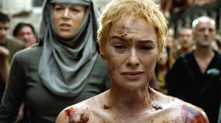 Cersei's walk of shame. Beeld HBO