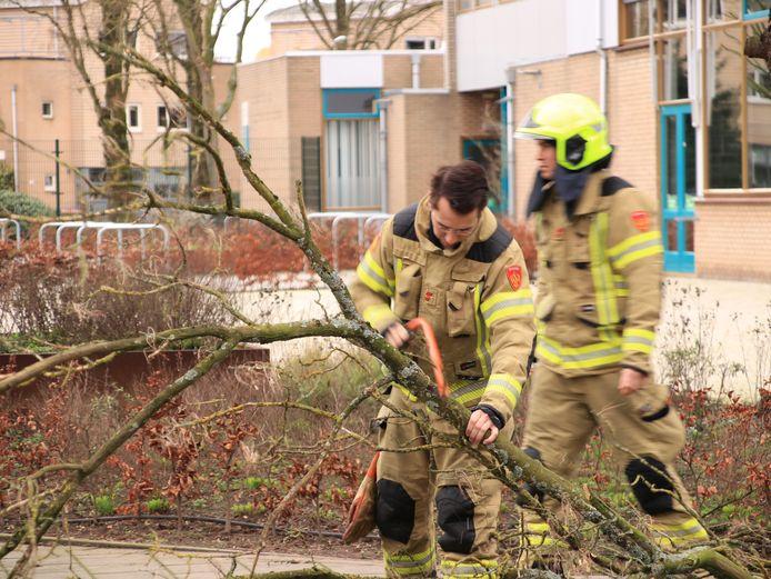 De brandweer maakt brandhout van de gevaarlijke tak in Ede.