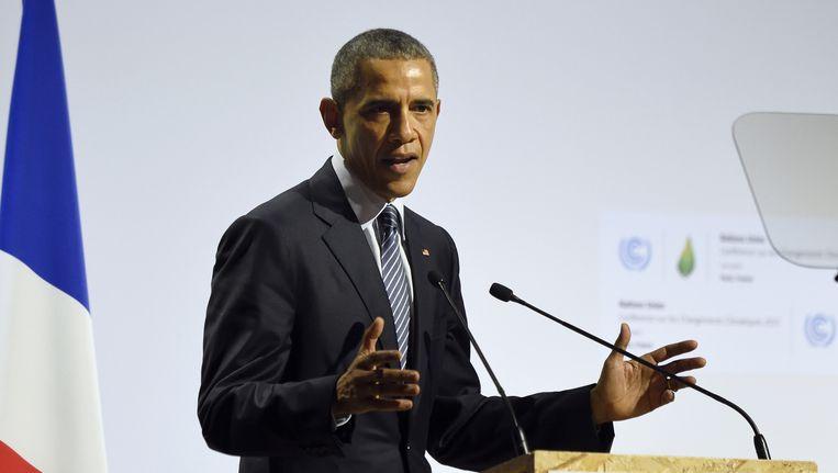 Obama houdt een speech. Beeld ap