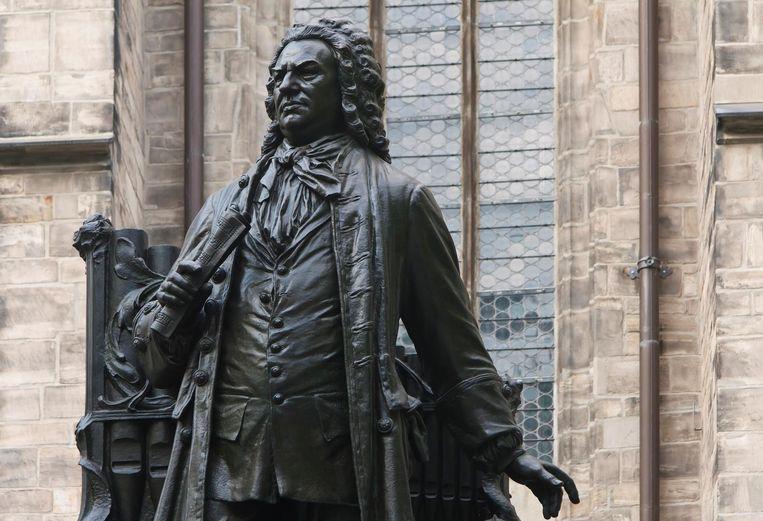 Standbeeld van Johann Sebastian Bach voor de Thomaskirche in Leipzig. Beeld null