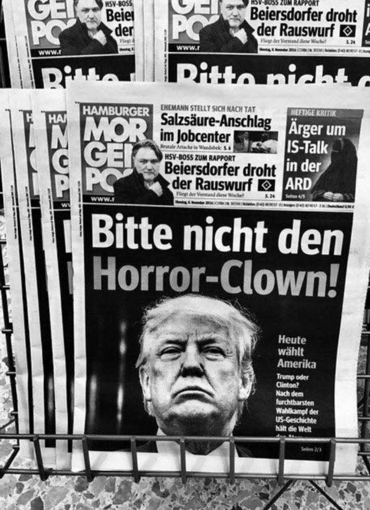 De voorpagina van een Duitse krant. Beeld