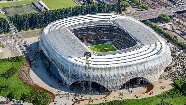 Artist's impression van het plan van Red de Kuip voor de renovatie van het Feyenoord-stadion. De verbouwing zou 200 miljoen euro gaan kosten. Beeld ANP Communique